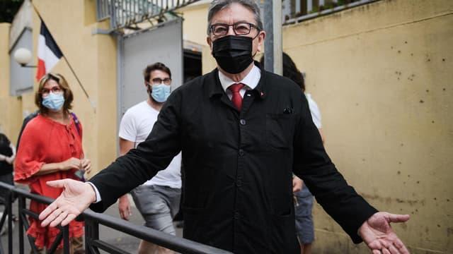 Jean-Luc Mélenchon à Marseille lors du premier tour des élections régionales, le 20 juin 2021.