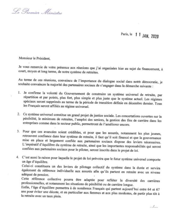 Un extrait de la lettre envoyée par Édouard Philippe aux organisations syndicales et patronales ce samedi 11 janvier 2020
