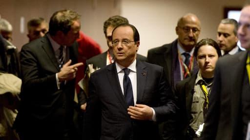 François Hollandes à Bruxelles jeudi, juste avant sa conférence de presse.