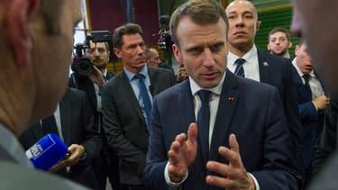 Emmanuel Macron à Saint-Genes-Champanelle (Auvergne) lors de la présentation de ses voeux aux agriculteurs, le 25 janvier 2018.