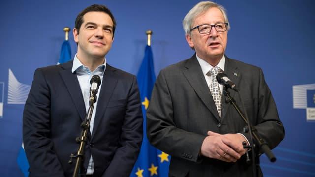 Le premier ministre grec Alexis Tsipras et le président de la Commission européenne Jean-Claude Junker