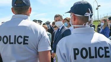 Gérald Darmanin lors d'un déplacment à Calais le 12 juillet 2020