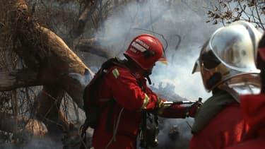 Des pompiers combattant un incendie en Bolivie ce 22 août
