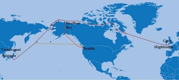 Arctic Fibre reliera le Royaume-Uni au Japon via l'océan Arctique, soit une route directe d'environ 15.000 kilomètres.