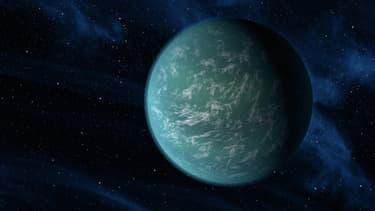 Illustration de Kepler22-b, une exoplanète entièrement recouverte par un océan.