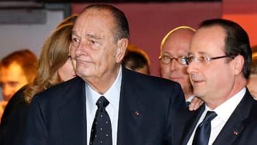 Jacques Chirac en compagnie de François Hollande au mois de novembre 2013. L'ancien président a été hospitalisé lundi soir.