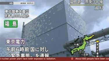 L'extérieur du réacteur numéro 3 de Fukushima- Daiichi. Le secrétaire général du gouvernement japonais a évoqué dimanche un risque d'explosion dans le bâtiment qui abrite le réacteur n°3 de la centrale nucléaire Daiichi de Fukushima. /Image diffusée le 13