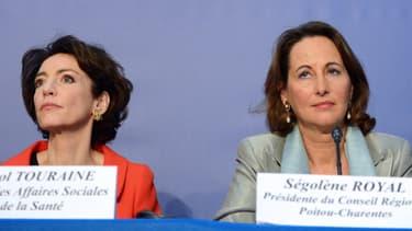 Marisol Touraine ( à gauche sur l'image), ministre des Affaires sociales et de la Santé et Ségolène Royal, ministre de l'Ecologie. (ici en décembre 2012)