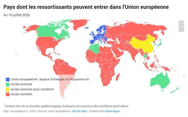 Carte des pays dont les ressortissants peuvent entrer dans l'UE au 16 juillet 2020.