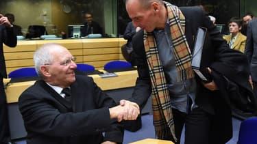 Il ne faut pas se fier aux apparences: Wolfgang Schaüble et Yanis Varoufakis ne s'apprécient guère....