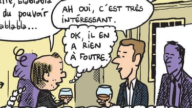 """Emmanuel Macron et Mathieu Sapin dans la BD """"Comédie française"""" de Mathieu Sapin"""