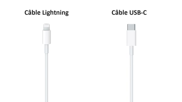 Un câble Lightning et un câble USB-C