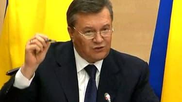 Viktor Ianoukovitch, président destitué par le parlement ukrainien, lors de sa conférence de presse en Russie, le 28 février 2014.
