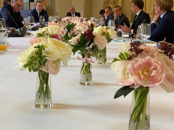 Photos du repas entre Emmanuel Macron et les présidents de groupe à l'Assemblée nationale, mardi 15 décembre 2020. (2)