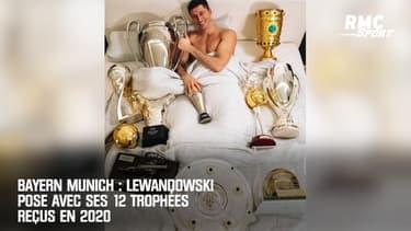 Bayern Munich : Lewandowski pose avec ses 12 trophées reçus en 2020
