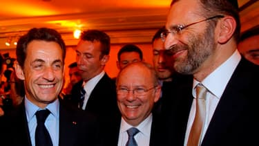 Nicolas Sarkozy, en 2010, aux côtés de Richard Prasquier (CRIF) et Gilles Bernheim, grand rabbin de France.