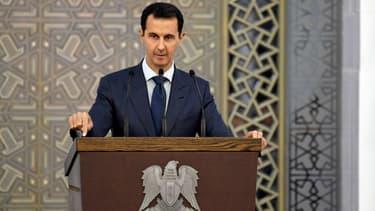 Le président syrien Bachar al-Assad lors d'un discours à Damas, en Syrie, le 20 août 2017