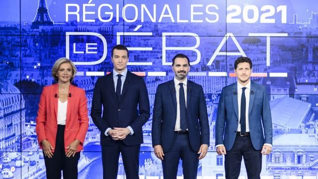 Les candidats franciliens à la présidence de l'Île-de-France Valérie Pécresse, Jordan Bardella, Laurent Saint-Martin et Julien Bayou, sur le plateau de BFMTV et BFM Paris.