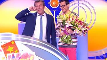"""Jean-Luc Reichmann et Paul dans """"Les 12 coups de midi"""", le 3 novembre 2019"""