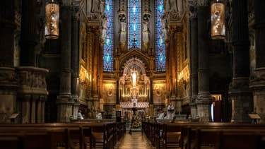La basilique Notre-Dame de Fourvière, à Lyon, vide pendant le confinement.