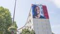 Le visage de Kylian Mbappé s'affiche sur un immeuble de la résidence des potagers, à Bondy.