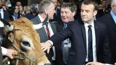Le président Emmanuel Macron au Salon de l'agriculture, le 24 février 2018