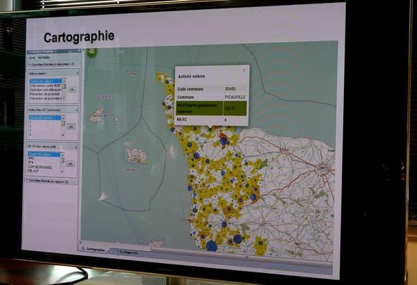 Outil cartographique de la Gendarmerie nationale permettant de superposer les prédictions de délinquance et les effectifs disponibles.