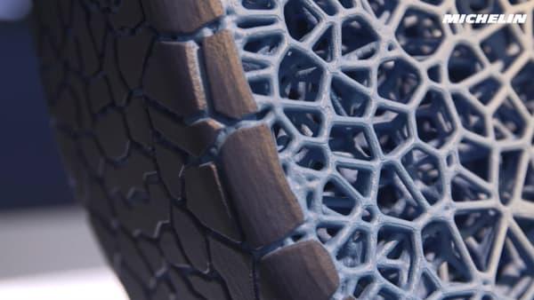 Ce nouveau pneumatique se compose d'une structure en alvéoles.