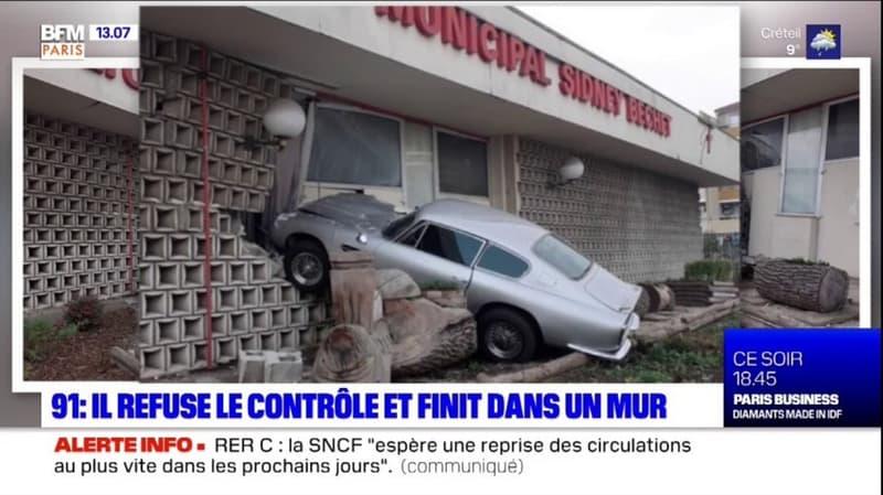 Grigny: un conducteur refuse d'obtempérer et s'encastre dans un mur
