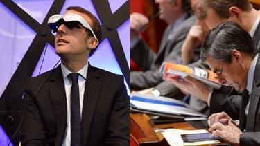 Emmanuel Macron à Futurapolis au mois de novembre 2016. François Fillon en 2013 à l'Assemblée.