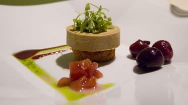 Canapé de foie gras sur pain brioché et chutney de cerise, une entrée de Noël de luxe mais qui pourrait rebuter les amis des bêtes.