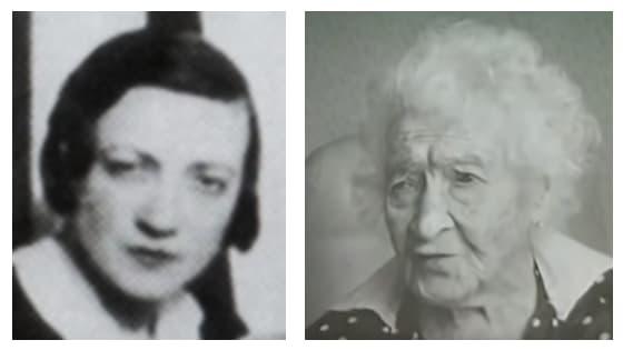 La jeune Yvonne à gauche, et Jeanne Calment âgée à droite