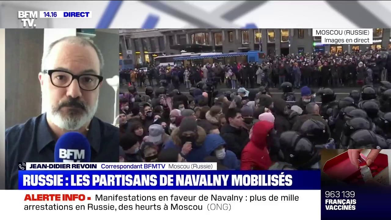 Plus de 1000 personnes interpellées lors des manifestations de soutien à Alexeï Navalny en Russie