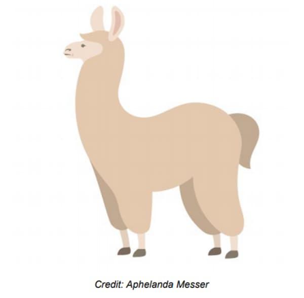 La première proposition d'emoji lama de Jason Li, dessinée par Aphelanda Messer.