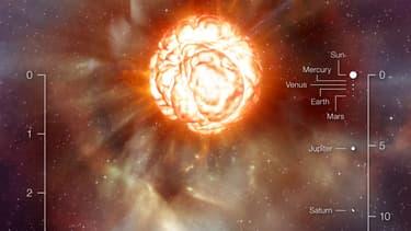 """L'étoile Betelgeuse, surnommée la """"super géante rouge"""" prise par l'Observatoire de Paris, le 26 juillet 2009."""