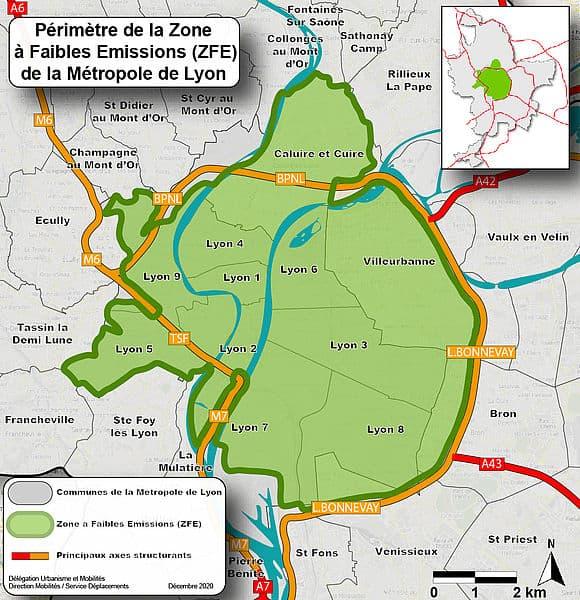 Le périmètre de la ZFE actuelle à Lyon.