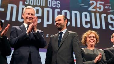 Le Premier ministre Edouard Philippe, le ministre de l'Économie Bruno Le Maire, et la ministre de l'Emploi Muriel Pénicaud au Salon des entrepreneurs en février 2018.