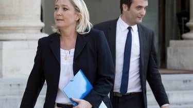 Marine Le Pen et Florian Philippot, à la sortie de l'Elysée, le 16 mai dernier.