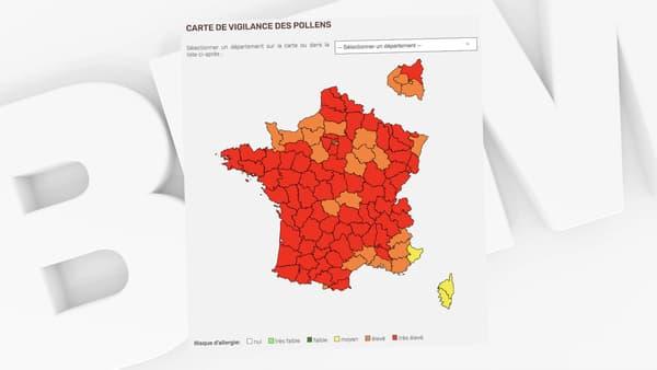 La carte de France de vigilance des pollens