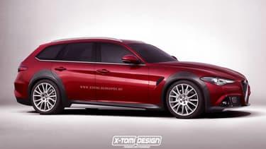 Une version sous photoshop de ce que pourrait donne une Alfa Romeo Giulia break, par le designer X-Tomi.