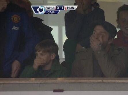 La réaction de David Beckham au but de Rooney