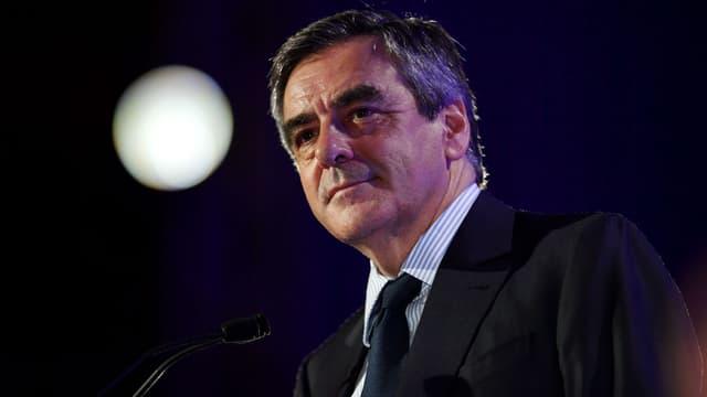 François Fillon, alors candidat à l'élection présidentielle, durant un meeting près de Montpellier, le 14 avril 2017.