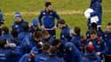 Le XV de France à l'entraînement