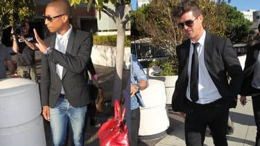 Pharrell Williams et Robin Thicke, au tribunal de Los Angeles, le 5 mars dernier.