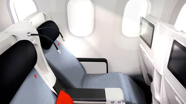"""Le nouveau siège en classe """"Premium Economy"""" en position repos."""