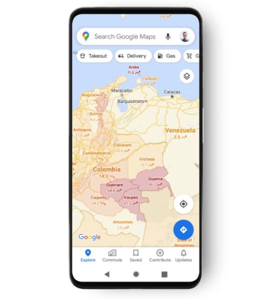 Google Maps va afficher pour chaque pays une moyenne du nombre de cas pour 100.000 personnes