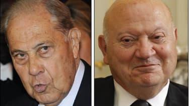 Des peines de deux ans de prison avec sursis, 100.000 euros d'amende et deux ans de privation des droits civiques ont été requises jeudi à Versailles contre les ex-ministres André Santini (à droite) et Charles Pasqua, jugés pour détournement de fonds publ