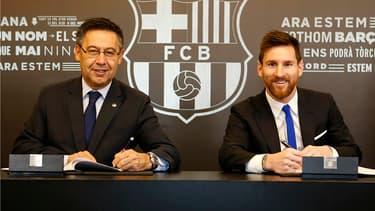 Josep Bartomeu et Lionel Messi