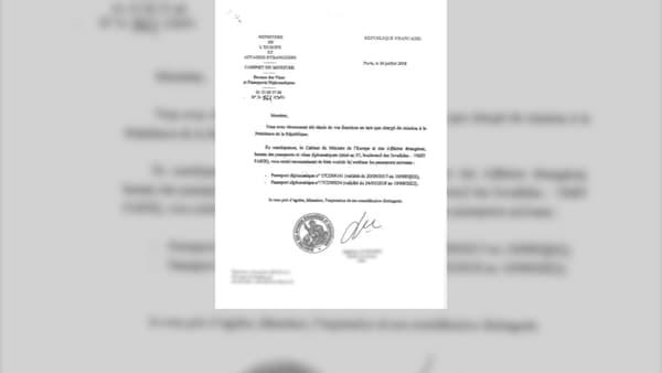 Le courrier envoyé par le Quai d'Orsay à Alexandre Benalla le 26 juillet, lui demandant de restituer ses passeports diplomatiques.