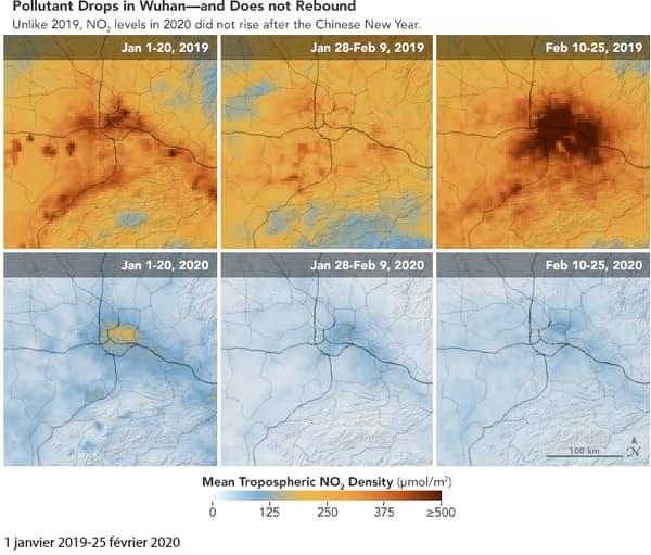 La concentration de dioxyde d'azote à Wuhan en janvier-février 2019 et en janvier-février 2020